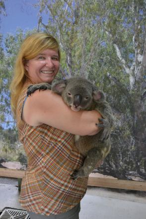 Holding Rocco the Koala